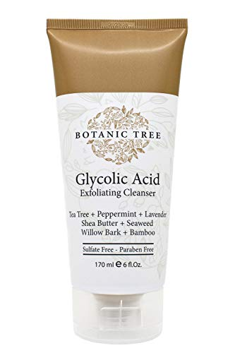Botanic Tree Glycolic Acid Face Wash-Facial Exfoliating Cleanser w/ 10% Glycolic Acid-Acne Facial Wash For a Deep Clean-Anti Aging AHA Peel for Acne, Wrinkle Reduction-Facewash Scrub for Cystic Acne