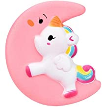 Lisin Squishy Cute Moon Unicorn Scented Cream Slow Rising Squeeze Decompression Toys Charms Hand Wrist Toys For Child Adult (Moon Unicorn)