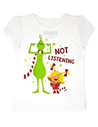 Dr. Seuss The Grinch - Toddler Girls' Not Listening T-Shirt, White