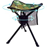 Geertop Portable Swivel Tripod Camping Stool Folding Slacker Chair Full 360 Degree Rotation Heavy Duty Camp Stool for Hunting Fishing Hiking Outdoor Travel Foldable Stool Chair Camo 200 lbs Capacity