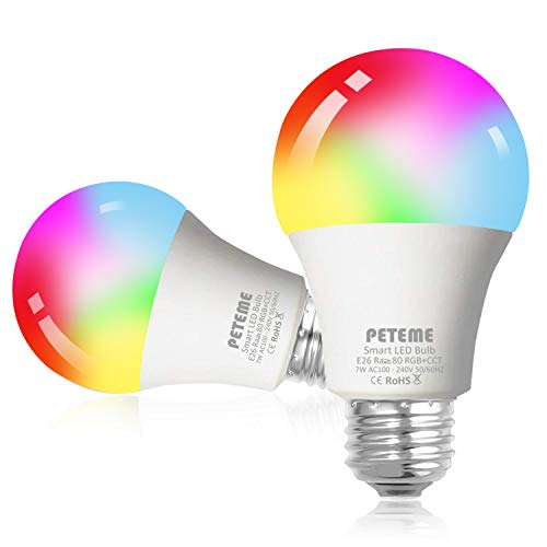 Peteme Smart Light Bulbs, Wi-Fi Led Smart Bulbs, RGB, 2 Pack
