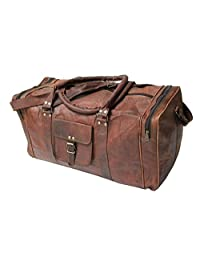 "IHV Handmadecraft Vintage 24"" Men's Genuine Leather Duffle Travel Overnight Gym Bag Brown"