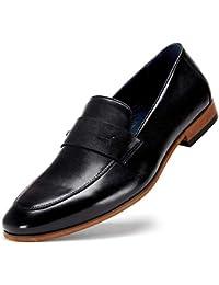 Mens Oxford Loafer Dress Shoes - Black Genuine Leather Bussiness Formal Shoes for Men, Brown Slip on Shoes