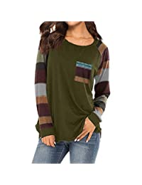 FarJing Womens Fashion Stripe Casual Loose Long Sleeve Top Blouse T-Shirt