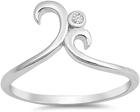 White CZ Solitaire Swirl Statement Ring New .925 Sterling Silver Band Sizes 4-10