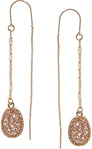 Humble Chic Simulated Druzy Chain Bar Threaders - Boho Glitter Gold-Tone Long Sparkly Needle Drop Earrings for