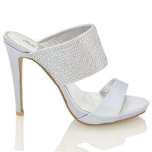 ESSEX GLAM Womens Satin Diamante Mules Sandals Ladies Bridal Party Wedding Prom Shoes Size