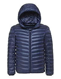 Fasttg Men Hooded Ultra Light Packable Down Jacket