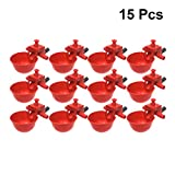 Yardwe 15PCS Automatic Chicken Drinker Cups, Poultry Waterers Chicken Watering Cups Bowls for Chicken Quail Duck Bird (Red)