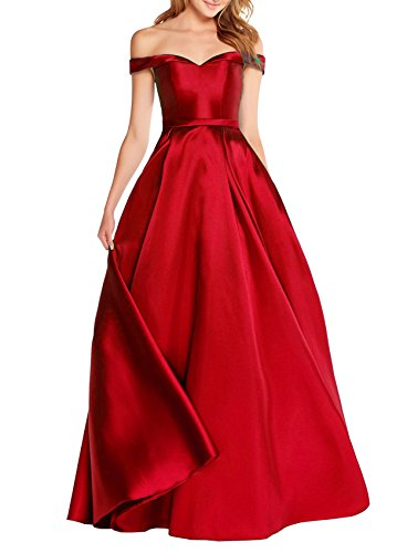 Beauty Bridal Off The Shoulder Satin Evening Dress Long Prom Gowns With Pocket S041 (10,Red)