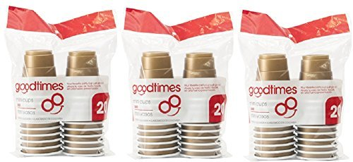 Goodtimes 2oz Mini Disposable Plastic Shot Glass Cups (3 packs of 20 cups) Perfect size for liquor shots, Jello shots, Christmas Parties, serving condiments and kids love them too! (Gold)
