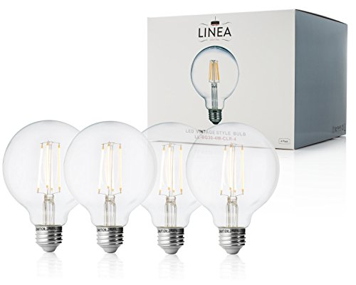 Led Linea (40 Watt Equivalent Clear Dimmable LED Bulbs - 4 pack – G30 Edison 4W, LL-BG30-4W-CLR-4)