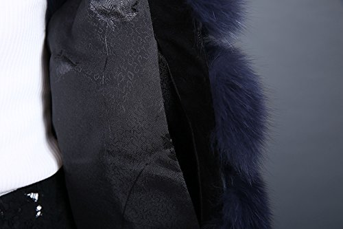 Lovingbeauty Long Navy Blue Vest Women Fox Fur Winter Gilet Outerwear Waistcoats (XXL) by Lovingbeauty (Image #7)