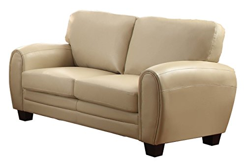 Taupe Leather Sofa Couch - 1