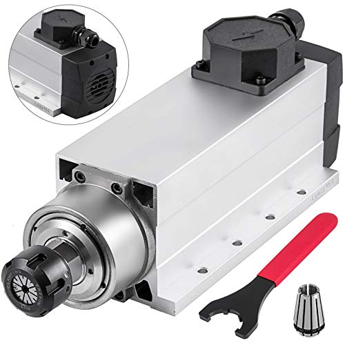 Mophorn Spindle Motor 4KW Square Air Cooled Spindle Motor ER25 Collect 18000RPM 220V CNC Spindle Motor for CNC Router Engraving Milling Machine (4KW Air Cooled)