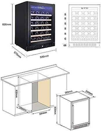 CLING Enfriador de Vino 46 Botellas, Doble Zona de 145 l, refrigerador con Puerta de Vidrio Templado Acero Inoxidable función Memoria Temperatura Apto para Botellas champán Independiente y con Estilo