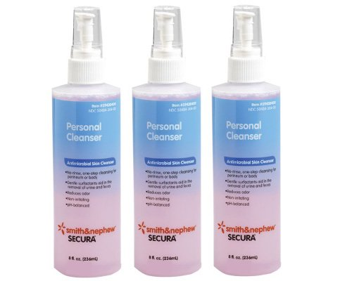 Secura Personal Cleanser [59430400] 8 oz (Pack of 3) Squeeze Pod Travel Size Natural Facial Cleanser - 30 Single Use Pods