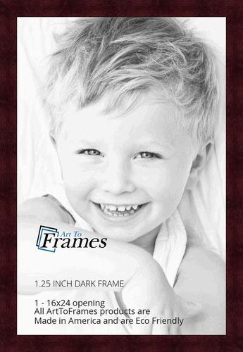 ArtToFrames 16x24 inch Dark Cherry Stain on Hard Maple Wood Picture Frame, -