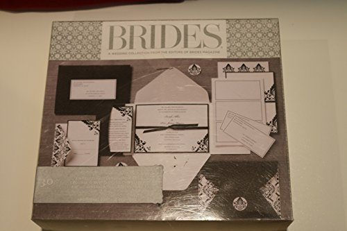 Brides Wedding Premium Printable Invitation Kit, 30 Count White and Black Damask Invites, Gartner Item (Damask Wedding Invitations)