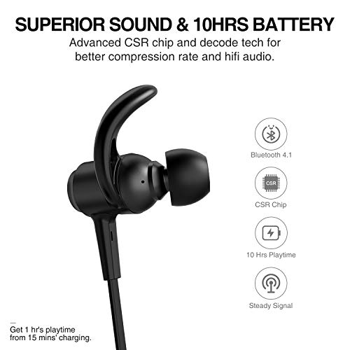 Picun Bluetooth Headphones 10 Hrs Battery, HiFi Stereo Wireless Sports Earphones with Noise Reduction Mic, IPX6 Waterproof Nano-Coating Magnetic Earbuds Secure Fit for Running Gym Workout Black