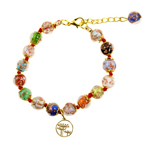 Murano Glass Bead Bracelet - Just Give Me Jewels Venice Murano Glass Bead Bracelet in Multi-Colors with Flower Charm, 8+1