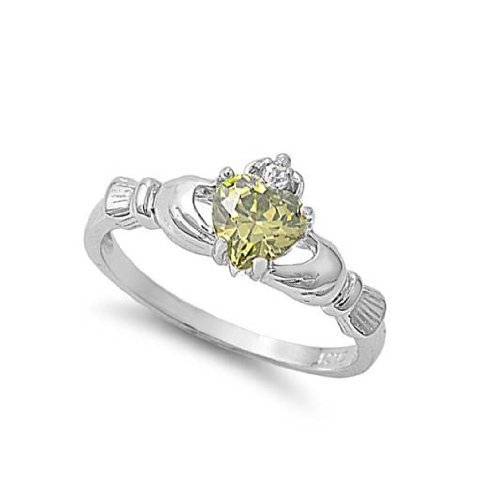 ALL NATURAL 9MM Sterling Silver AUGUST PERIDOT HEART BIRTHSTONE Claddagh Celtic Irish Ring-SIZE 2-13