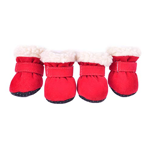 (TizzyPet Wool Lined Dog Boots Paw Protectors Pet Winter Shoes Anti-Slip Sole Adjustable Hook-and-Loop Set of)