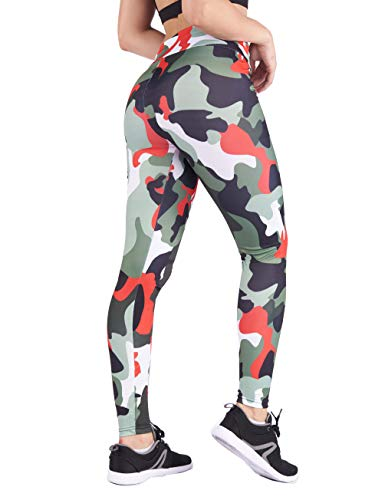 (DrKr Army Camouflage Printed Yoga Pants High Waist Workout Running Leggings for Women Camouflage Red)