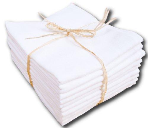Mullwindel, Stoffwindeln/Spucktücher kochfest bis 90°C, 10-er Pack, 70 x 80 cm, weiß