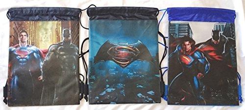 3 pieces Batman V Superman DC TM Comic Drawstring Backpack Sling Tote Gym Bag ()