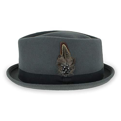 Belfry Crushable Porkpie Fedora Men's Vintage Style Diamond Hat 100% Pure Wool (Medium, Grey)]()