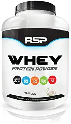 RSP Whey Protein Powder 4.6lbs – 27G Premium Whey Protein Shake with BCAAs and Glutamine, Post Workout Recovery Protein Supplement, 51 Servings Vanilla