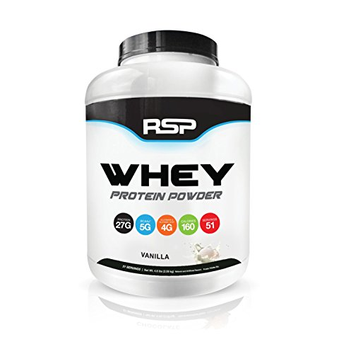 RSP Whey Protein Powder (5LB) – 27G Premium Whey Protein Shake with BCAAs and Glutamine, Post Workout Recovery Protein Supplement, 51 Servings (Vanilla) For Sale