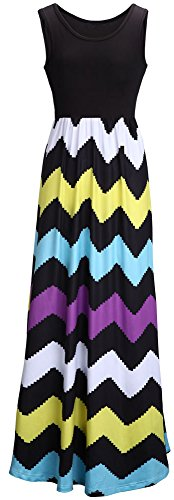Demetory Women`S Bohemian Sleeveless Wave Striped Maxi Dress (U16-18/Asian XL, Black)