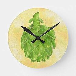PotteLove 12 Artichoke Kitchen Clock Wooden Decorative Round Clock