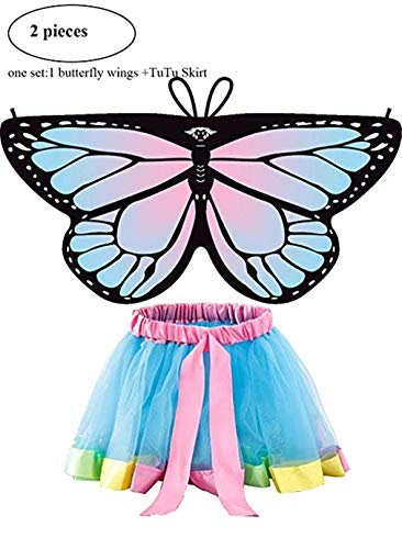 Rainbow Kids Butterfly Wings Costume for Girls Dress Up with Fairy Tutu Skirt Pretend Play Party Supplies (Pink and Blue) -