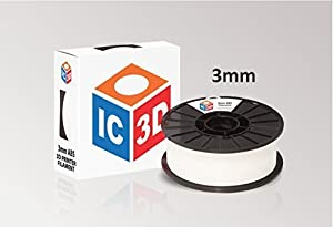 IC3D White 3mm ABS 3D Printer Filament - 2.1lb Spool - Dimensional Accuracy +/- 0.05mm - Professional Grade 3D Printing Filament - MADE IN USA