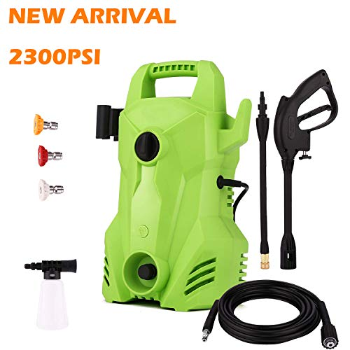Electric Pressure Washer 2300 PSI, 1.6 GPM Compact Power Washer, 1400W Portable Electric Power Washer with External Detergent Dispenser,3 Nozzles (2300PSI)