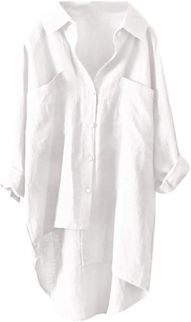 Yesmile Mujer CamisetasLas Mujeres Camisa Las Mujeres abotona Abajo Camisa Casual Baja asimétrica Tops Blusa Plus