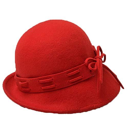 Gorra Cúpula Sombrero Sombrero Negro Rojo color Casual Para Suave Fieltro Y Mujer Sólido Invierno New De Clásica Color Cálido Lana weifeng Elegante aPEg7An