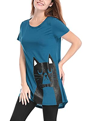 Allegra K Women's Cat Pattern Short Sleeves Round Neck Tunic Tee