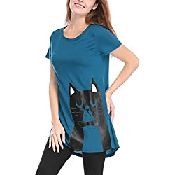 Allegra K Women's Cat Pattern Short Sleeves Round Neck Tunic Tee XS Blue