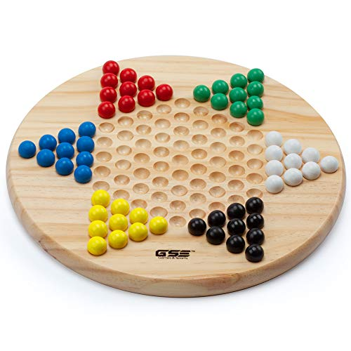 (Wooden Chinese Checkers Family Board Game Set with Extra Wood Marbles)