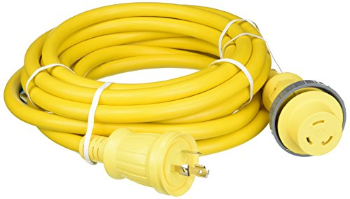 Shore Power Cable Set - Hubbell Wiring Systems HBL61CM03LED Ship-to-Shore Vinyl Jacketed Cable Set with High Intensity LED Power-On Indicator, 10 AWG, 30 Amps, 25' Length, Yellow