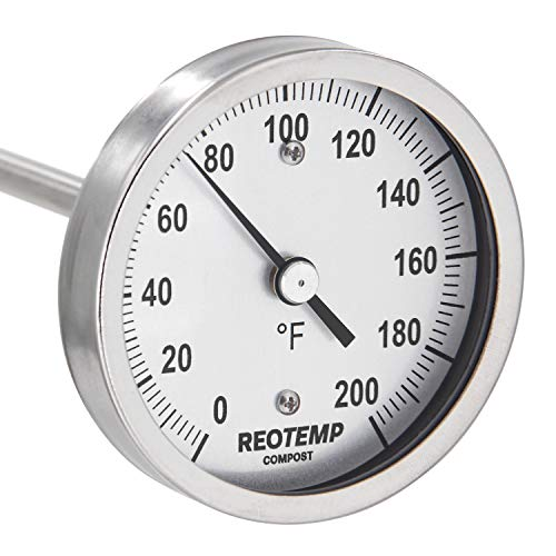 REOTEMP Heavy Duty Compost Thermometer - Fahrenheit (36 Inch Stem), Made in The USA ()