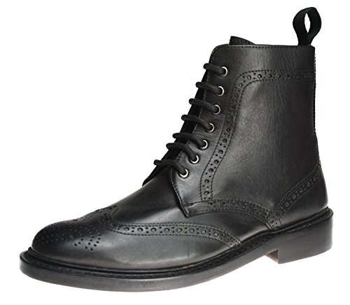 pelle in Lace Nero Boots Benchgrade Frank Tutto Dealer James Uomo con cucitura up Brogue IwIHgqX