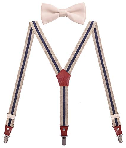 WDSKY Mens Bow Tie and Suspenders Set for Wedding 47 Inches Beige Navy Stripe