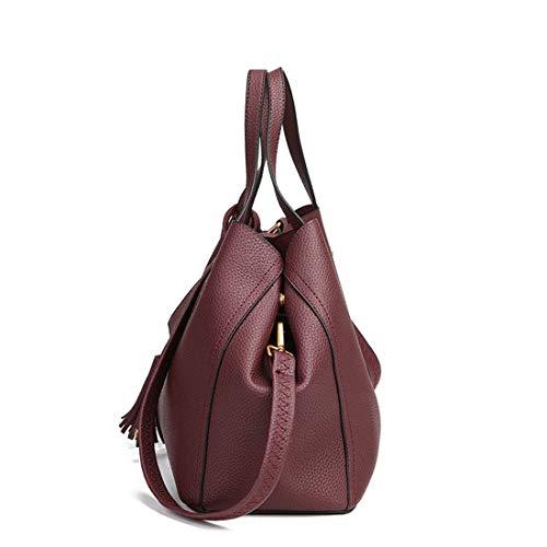 Bolsa color Red Hombro Mensajero Bolsos Para Niñas Klerokoh Bolso Khaki Wine Asas Mujer Cuero De X4pB6WwqH