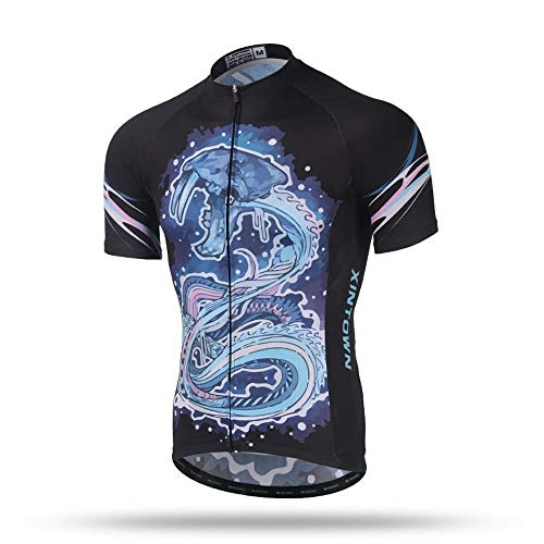 Sea 206 Clothing (Micye Men's Sea Monster Pattern Printing Summer Cycling Clothes Thin and Light Short Sleeve Outdoor Cycling Jersey Close-Fitting Quick Dry Biking Shirt with Pockets (Size :)