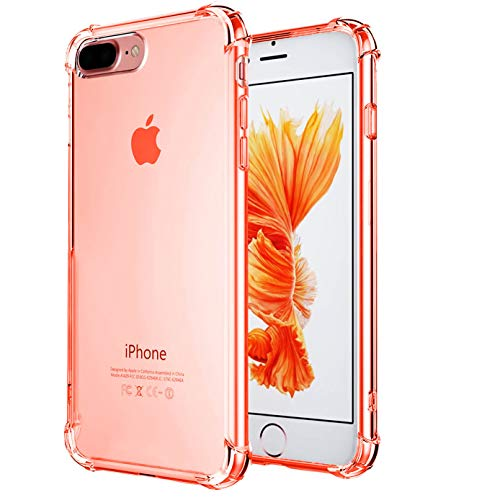 CaseHQ iPhone 7 Plus Case, iPhone 8 Plus Case,Crystal Clear Shock Absorption Bumper Slim Fit,Heavy Duty Protection TPU Cover Case for Apple iPhone 7 Plus (2016)/iPhone 8 Plus (2017) -Rosegold